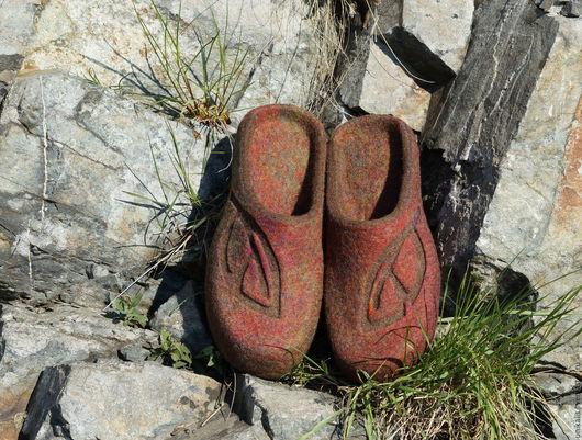"""Обувь ручной работы. Ярмарка Мастеров - ручная работа. Купить Валяные тапочки """"Терракота"""". Handmade. Терракотовый, обувь для дома"""