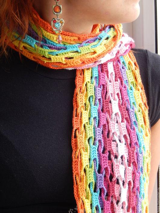 Шарфы и шарфики ручной работы. Ярмарка Мастеров - ручная работа. Купить Шарф. Handmade. Комбинированный, разноцветный шарф, шарф вязаный
