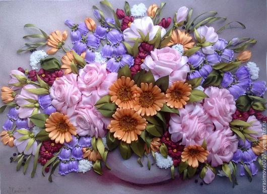 Картины цветов ручной работы. Ярмарка Мастеров - ручная работа. Купить Букет роз с колокольчиками .. Handmade. Бледно-розовый
