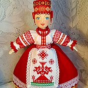 Куклы и игрушки handmade. Livemaster - original item The doll in the Russian style with hand embroidery-talisman on kettle. Handmade.