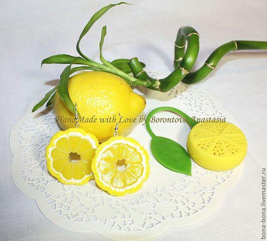 Серьги ручной работы. Ярмарка Мастеров - ручная работа. Купить Серьги «Slices of lemon». Handmade. Желтый, лимон