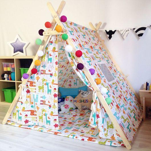 """Детская ручной работы. Ярмарка Мастеров - ручная работа. Купить Детская палатка """"жирафио"""". Handmade. Палатка, домик, домик для игр"""