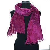 Аксессуары ручной работы. Ярмарка Мастеров - ручная работа шарф лён розовая фуксия ручная окраска подарок женщине учителю. Handmade.