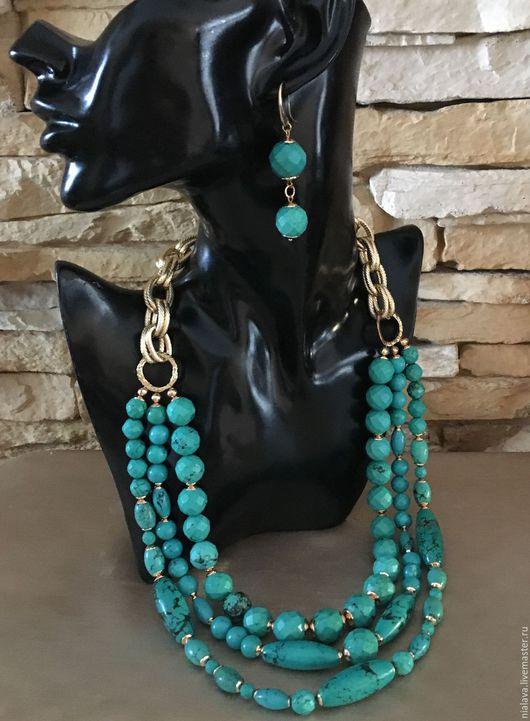 Модное красивое бирюзовое колье на шею из натуральных камней бирюзы и туркенита под нарядное платье крупные авторские украшения бусы ожерелье купить