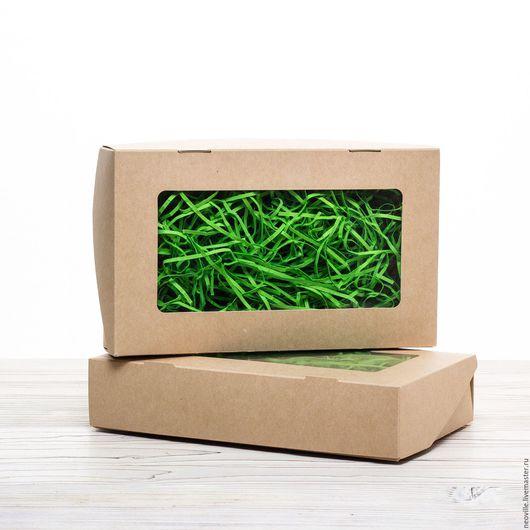Упаковка ручной работы. Ярмарка Мастеров - ручная работа. Купить Коробка 20х12х4см крафт с окошком и ламинацией самосборная. Handmade. Упаковка