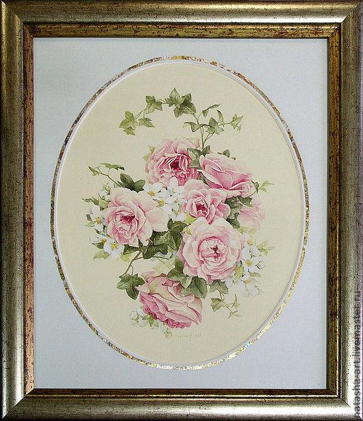 Картины цветов ручной работы. Ярмарка Мастеров - ручная работа. Купить Жасмин и розы. Handmade. Бледно-розовый, букет, розы