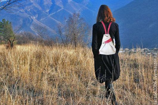 Женская  кожаная  сумка рюкзак  из натур. кожи серо- розового женская сумка, кожаная женская сумка, сумка-рюкзак, сумка ручной работы, модные сумки, пошить сумку, купить сумку, заказать сумку