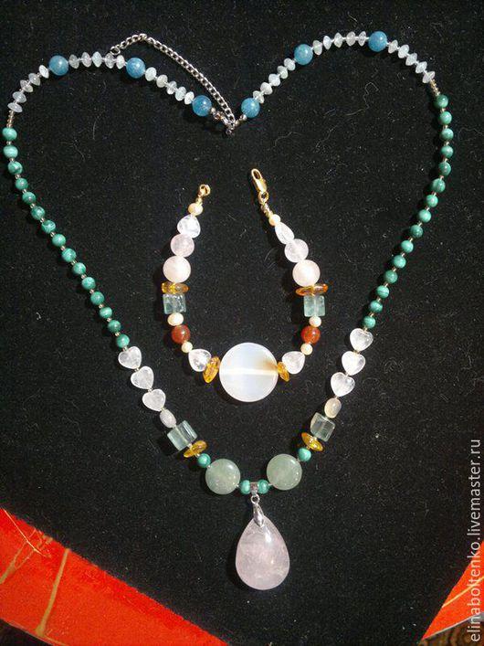 комплект - браслет и бусы, подборка камней под конкретную задачу заказчицы.