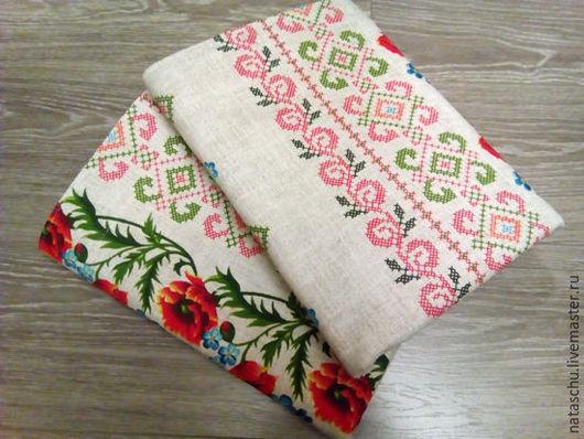 Текстиль, ковры ручной работы. Ярмарка Мастеров - ручная работа. Купить Шторы с маками из хлопковой рогожки. Handmade. Комбинированный