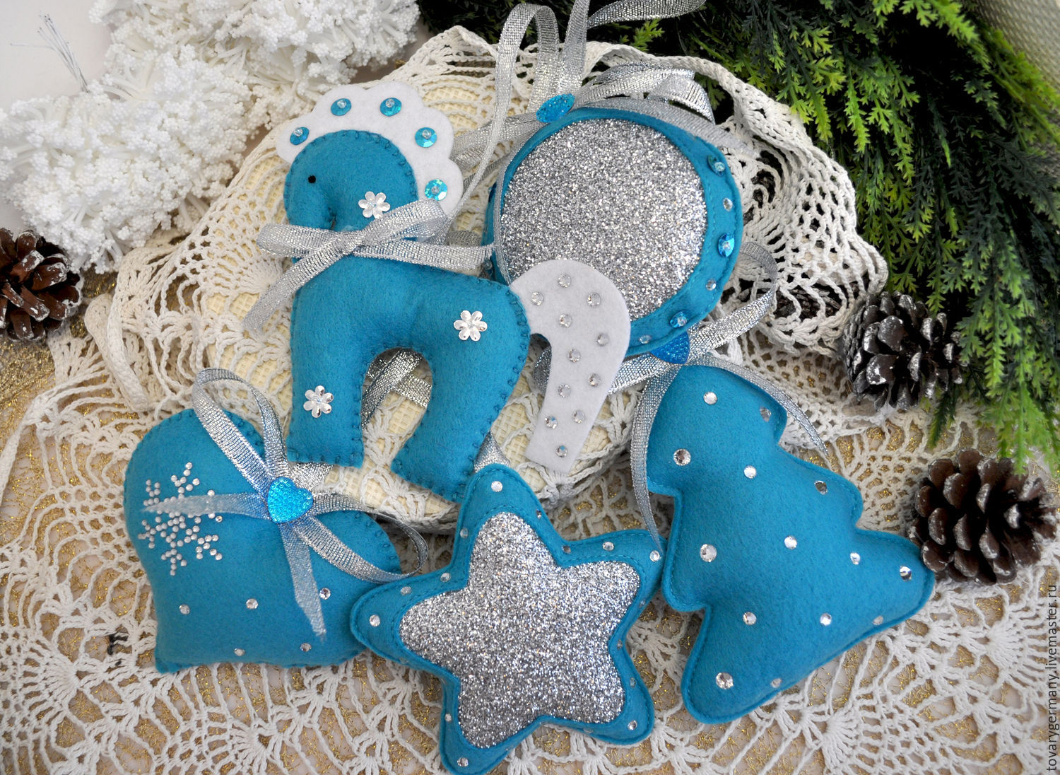 Christmas decorations out of felt. turquoise, Christmas decorations, Chekhov,  Фото №1