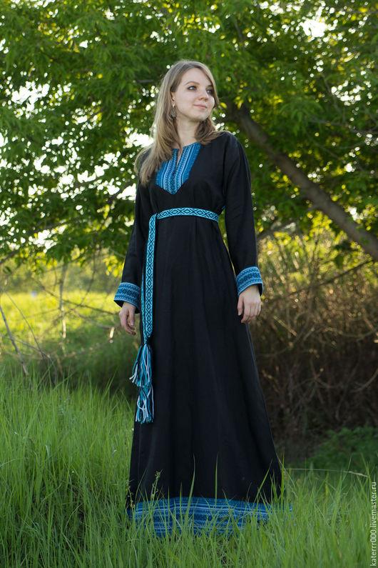 """Одежда ручной работы. Ярмарка Мастеров - ручная работа. Купить Платье """"Берегиня"""" черно-бирюзовое. Handmade. Белый, льняное платье"""