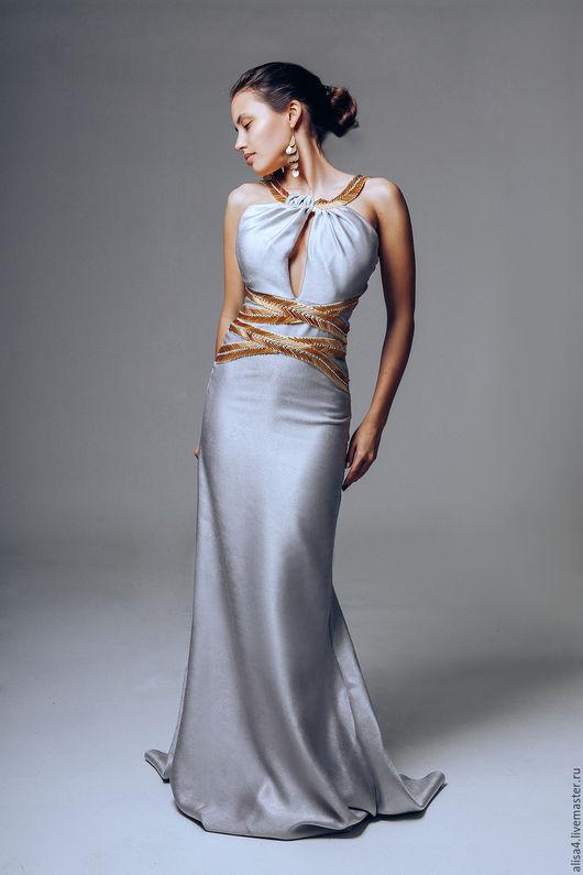 Платья ручной работы. Ярмарка Мастеров - ручная работа. Купить платье серебро-золотистое. Handmade. Серебряный, платье в пол, стразы