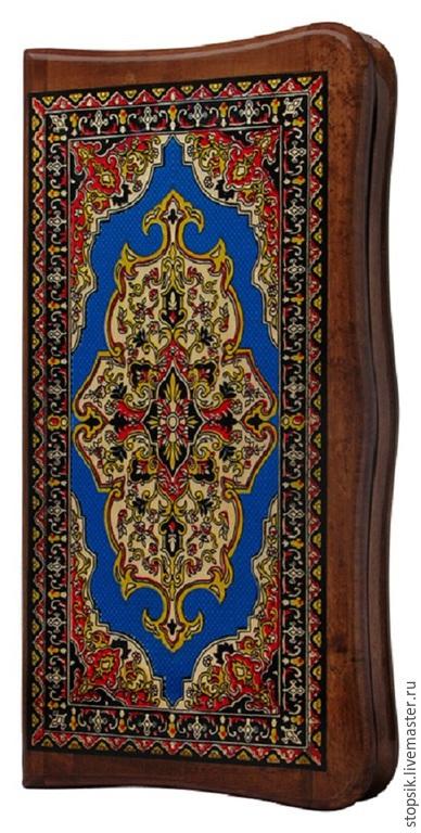 Настольные игры ручной работы. Ярмарка Мастеров - ручная работа. Купить Нарды Ковёр синий (тёмная рамка, филигранные, малые)16397. Handmade.