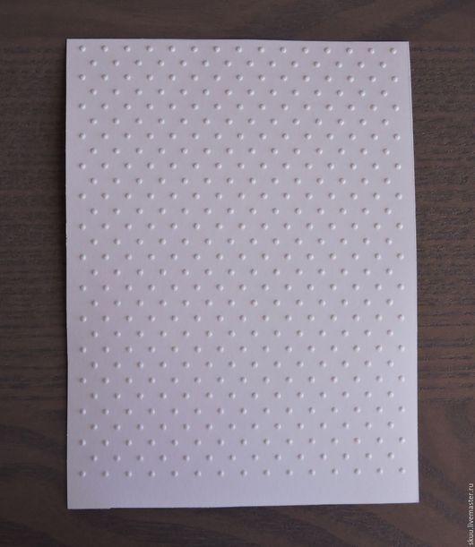 """Открытки и скрапбукинг ручной работы. Ярмарка Мастеров - ручная работа. Купить Бумага с тиснением """"Мелкий горошек"""" белая. Handmade. Белый"""