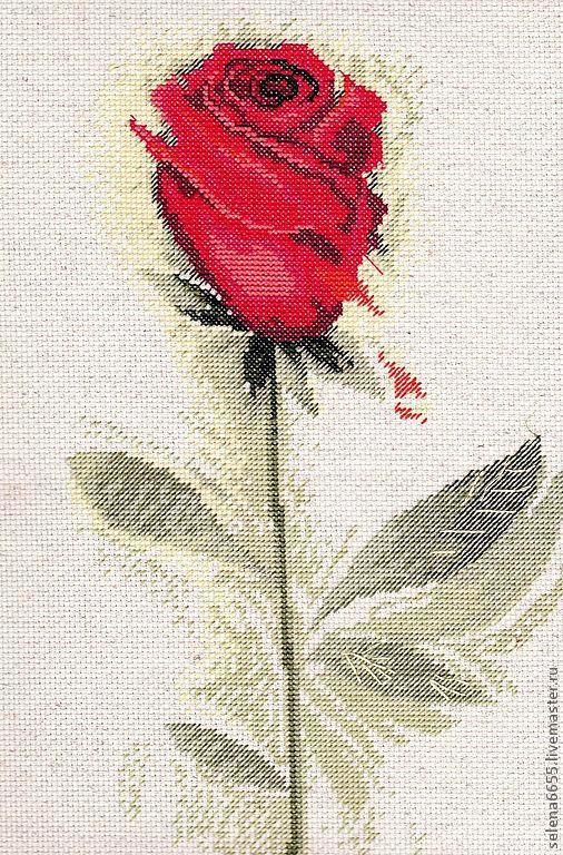"""Картины цветов ручной работы. Ярмарка Мастеров - ручная работа. Купить Вышитая картина """"Красная роза"""". Handmade. Вышивка"""