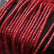 Бусины ручной работы. Ярмарка Мастеров - ручная работа Бусина 3х3 мм Цилиндрик (31), коралл. Handmade.