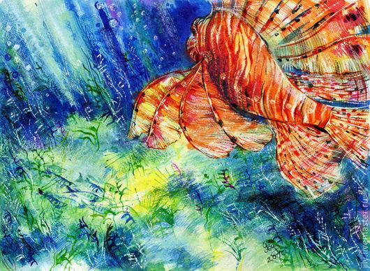 """Животные ручной работы. Ярмарка Мастеров - ручная работа. Купить Картина """"Тайны глубин"""". Handmade. Синий, море, океан"""