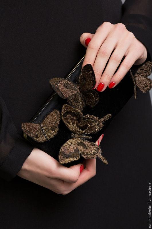 Женские сумки ручной работы. Ярмарка Мастеров - ручная работа. Купить Клатч бронза 3D бабочки. Handmade. Черный, вечерний