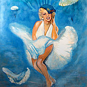 Картины и панно handmade. Livemaster - original item Oil painting sky Marilyn (Marilyn and airborne). Handmade.