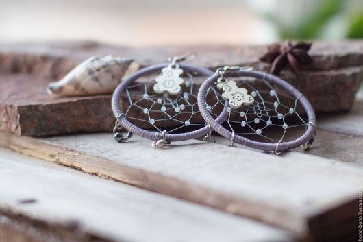 Серьги ручной работы. Ярмарка Мастеров - ручная работа. Купить Серьги-кольца с паутинкой  (бохо, этно, винтаж). Handmade. хиппи