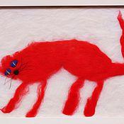 """Картины и панно ручной работы. Ярмарка Мастеров - ручная работа Картина """"Красная кошка на снегу"""". Handmade."""
