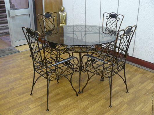 Мебель ручной работы. Ярмарка Мастеров - ручная работа. Купить Кованый стол и 4 стула. Handmade. Стол, Кованый стол