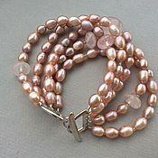 Украшения handmade. Livemaster - original item Bracelet POMPADOUR pearls and rose quartz. Handmade.
