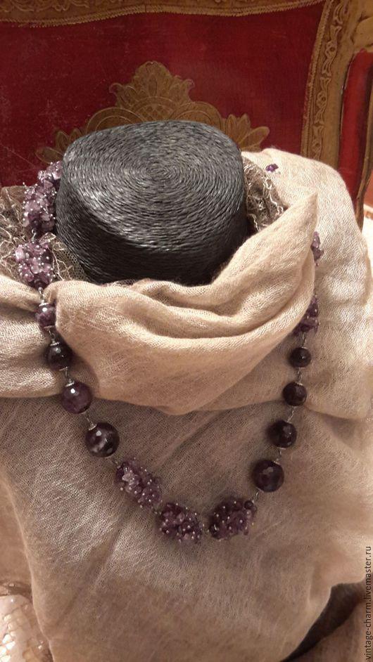 Винтажные украшения. Ярмарка Мастеров - ручная работа. Купить Ожерелье из аметиста. Handmade. Ожерелье из камней, серебро 925 пробы