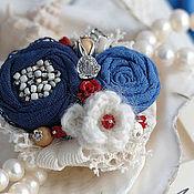Украшения ручной работы. Ярмарка Мастеров - ручная работа Брошь текстильная с кораллами в морском стиле Амальфи. Handmade.