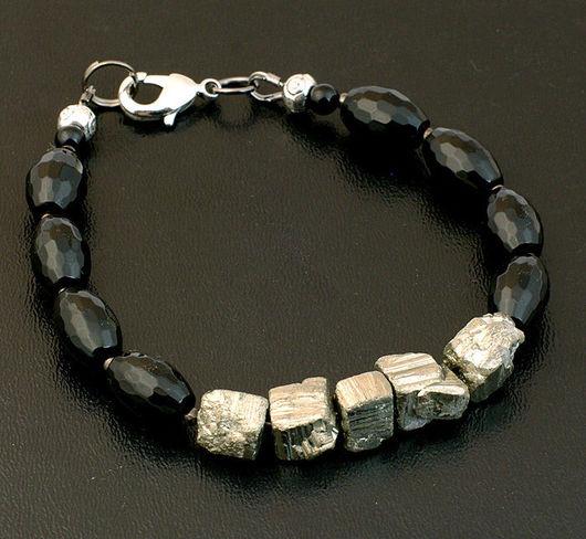 Оригинальный браслет черный оникс пирит необычный подарок мужу жене сестре брату отцу другу пирит оникс комплект бусы натурал авторский дизайн комплект бусы браслет