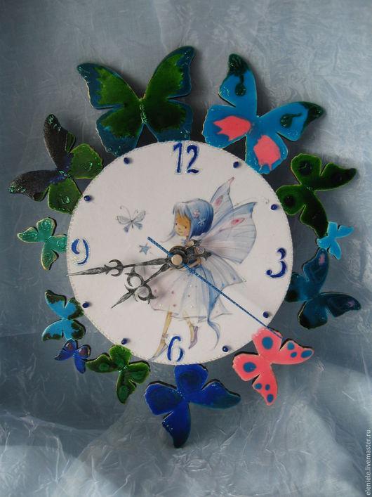 Часы для дома ручной работы. Ярмарка Мастеров - ручная работа. Купить Часы Феечка с бабочками. Handmade. Синий, часы декупаж