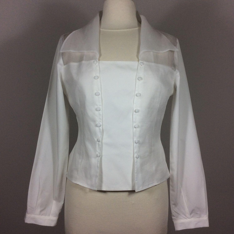Винтаж: Белая ретро-блузка Anne Fontaine, Одежда винтажная, Амстердам,  Фото №1