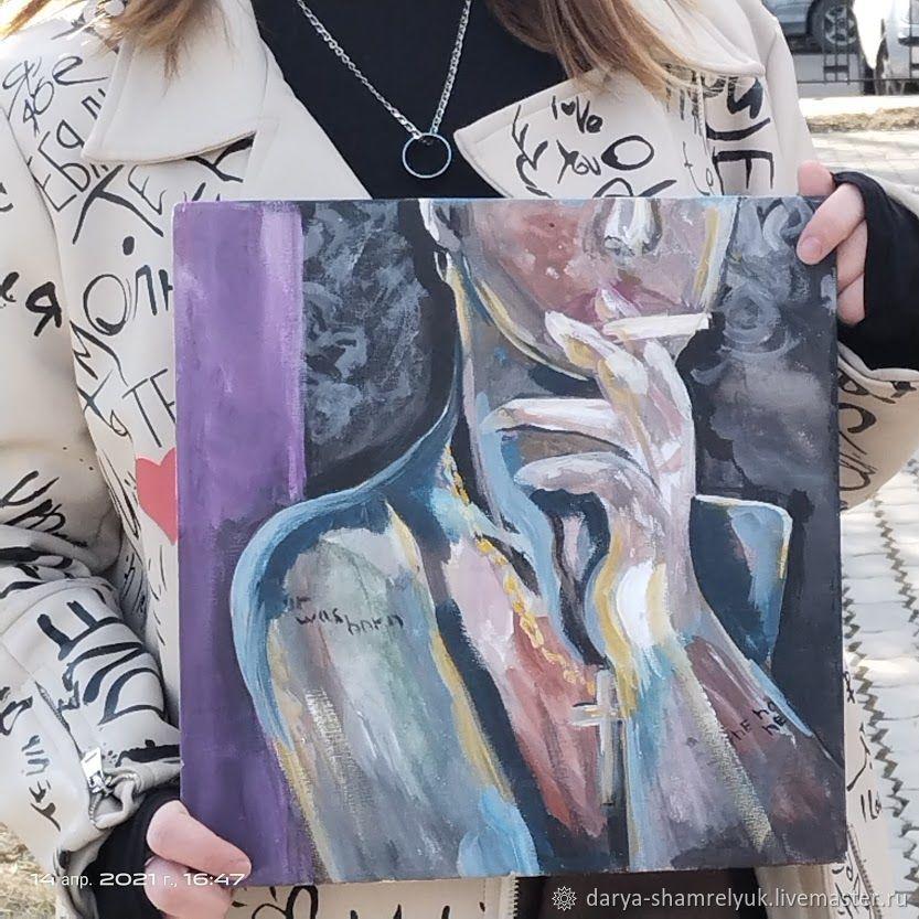 Картина Готика Девушка курит Неон Акрилом Маслом Девушка с сигаретой, Картины, Белогорск,  Фото №1