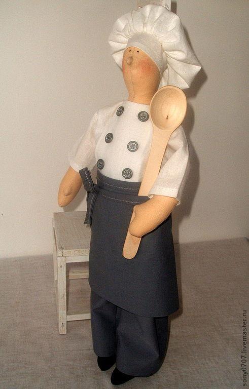 Куклы Тильды ручной работы. Ярмарка Мастеров - ручная работа. Купить Шеф-повар и сотрудница СБУ. Handmade. Серый, пуговицы