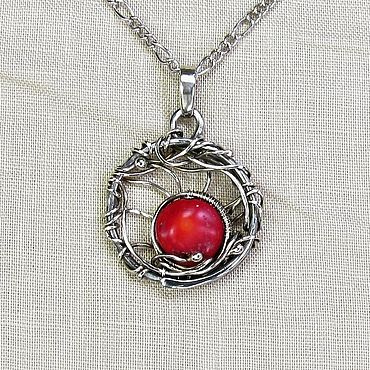 Decorations handmade. Livemaster - original item Pendant with red coral round pendant red pendant for every day. Handmade.