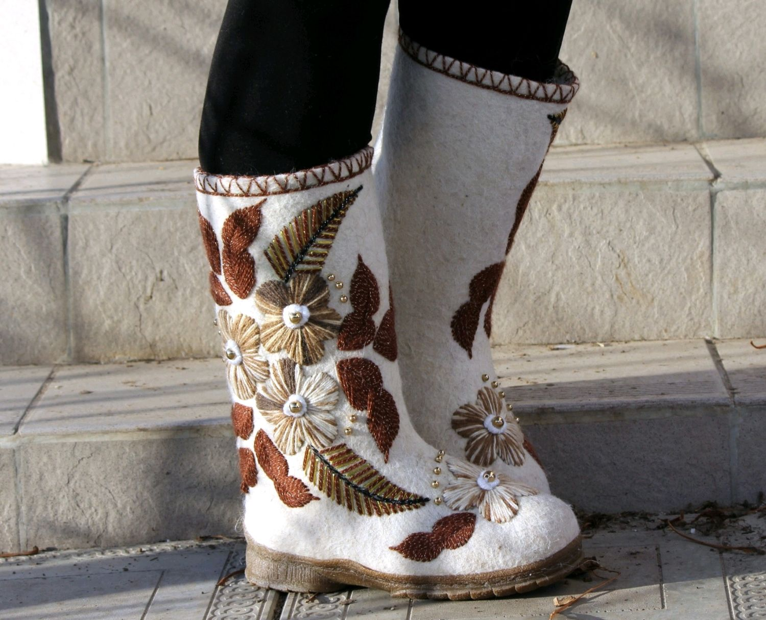 Boots with embroidery, boots on the sole, women's shoes, Felt boots, Cheboksary,  Фото №1