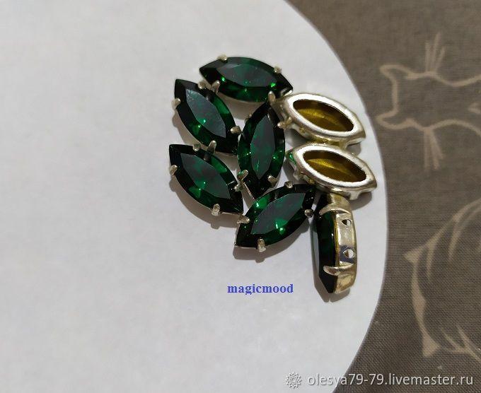 1 piece Czech rhinestone 15h7mm Emerald Navette rhinestones in DACs, Rhinestones, Chelyabinsk,  Фото №1