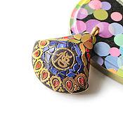 Материалы для творчества handmade. Livemaster - original item Indonesia fan pendant blue 56h51mm. Handmade.