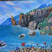 Картины и панно ручной работы. Ярмарка Мастеров - ручная работа Картина  Голубая лагуна, холст, масло, 30 х 40 см.морской пейзаж. Handmade.