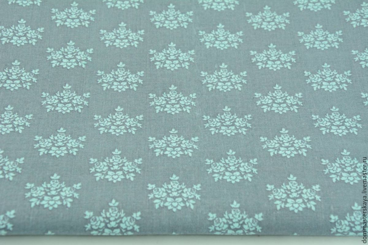 100% cotton, Poland, bouquet of turquoise roses on grey, Fabric, Moscow,  Фото №1