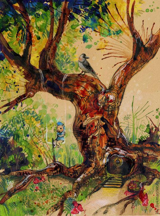 """Фэнтези ручной работы. Ярмарка Мастеров - ручная работа. Купить Картина """"Качели"""". Handmade. Сказка, иллюстрация, дерево, волшебство"""