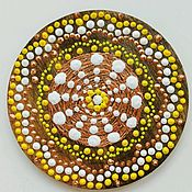 """Картины и панно ручной работы. Ярмарка Мастеров - ручная работа Магнит """"Мандала"""" желтая на радость и лёгкость в жизни. Handmade."""