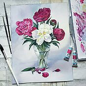 Картины и панно ручной работы. Ярмарка Мастеров - ручная работа Букет пионов. Handmade.