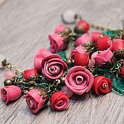 """Колье и браслет """"Розовый закат"""" (розы, розочки)"""