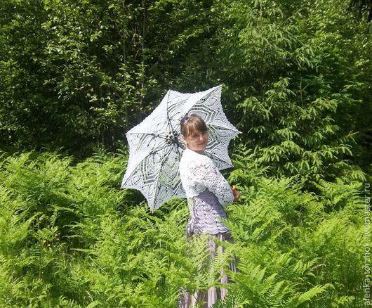 """Зонты ручной работы. Ярмарка Мастеров - ручная работа. Купить Ажурный зонт-трость  """"Ананас"""". Handmade. Белый, ажур"""
