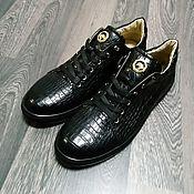 handmade. Livemaster - original item Sneakers made of genuine crocodile leather, in black!. Handmade.
