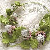 Украшения handmade. Livemaster - original item Decoration flowers leather Choker with GENTLE flowers CLOVER. Handmade.