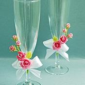 Свадебный салон ручной работы. Ярмарка Мастеров - ручная работа Свадебные бокалы с розами. Handmade.