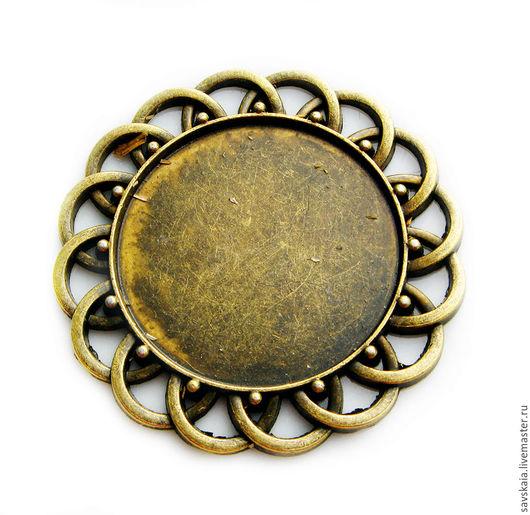Кабошон -  рамочка, ажурный, круглый, античная бронза