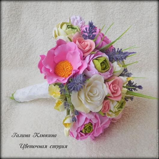Свадебные цветы ручной работы. Ярмарка Мастеров - ручная работа. Купить Букет невесты из полимерной глины. Handmade. Комбинированный, свадьба